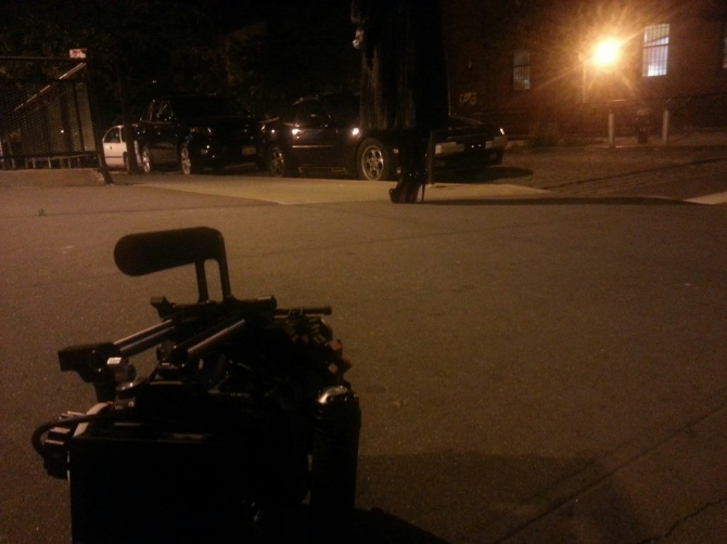 Action Cam on location in midnight air.