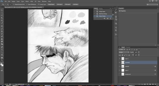 Starting the B&W shading process. Half done on paper, half done digitally. Get the tones setup first, then refined details later.