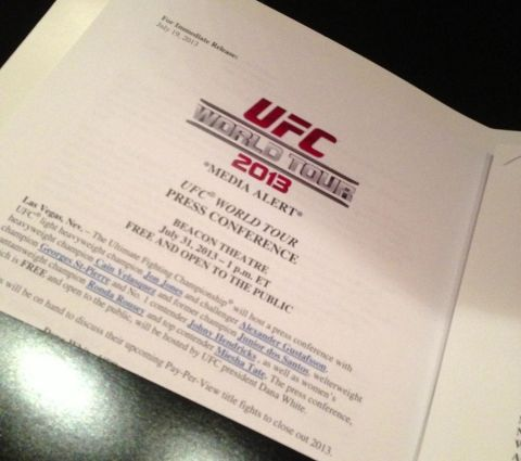 UFC world tour itinerary